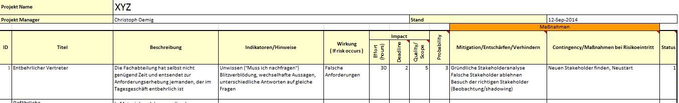 Auszug aus einem RE Risk Register